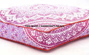 Pink Ombre Mandala Home Fashions 90cm Square Floor Pillow Cotton fabric, Oversized Daybed Outddor Ottoman Pouffes by Handicraftspalace
