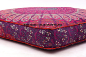 Child's Floor Lounger Seats and Pillow Cover Peacock Mandala Print Indian Tapestry Ottoman Pouffes Large Made of Soft Cotton Fabric - Perfect Reading and Watching TV Cushion - Great for Sleepovers