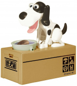OliaDesign My Dog Piggy Bank - Robotic Coin Munching Toy Money Box White and Black