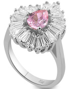 Women's Sterling Silver .925 Ring with Pink Pear shaped Centre Stone, Surrounded by 21 Tapered Baguette Cubic Zirconia (CZ) stones, High Polish.