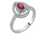Pear Shape Ruby and Diamond Cluster Design Ring in 18K Gold