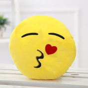 Emoji Smiley Emoticon Yellow Round Kiss With Heart Style Cushion Pillow Soft Toy