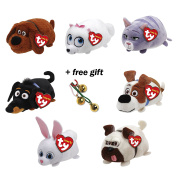 Full Set of 7 Ty Teeny Tys The Secret Life of Pets Stackable Beanies + Free Gift