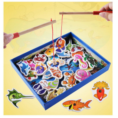YBB 32-Piece Fishes Wooden Magnetic Bath Fishing Magnetic Fishing Playset