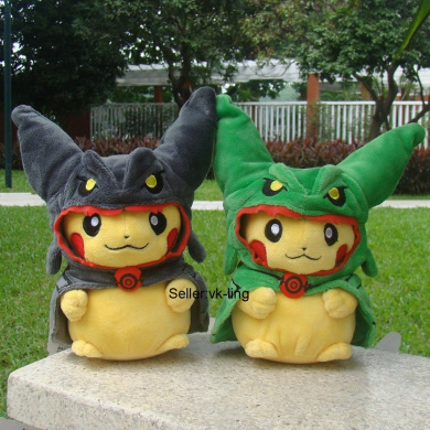2X Pikachu With Black Rayquaza Suit 20cm Pokemon Go Cute Plush Toy Cloak Hat Doll