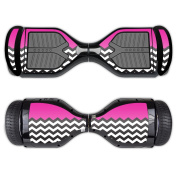MightySkins Protective Vinyl Skin Decal for Swagtron T1 Hover Board Self Balancing Smart Scooter wrap cover sticker skins Hot Pink Chevron