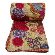 NANDNANDINI - Indian Cotton Quilt Floral Pattern Beige Home Décor Kantha Bedspread, Indian Gudari Handmade Tapestry, Floral Print Decorative Kantha Stitch Quilt , 150cm x 230cm