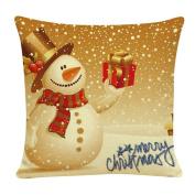 DEESEE(TM) Christmas Cotton Linen Cushion Cover Throw Waist Pillow Case Sofa Home Decor