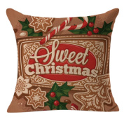 DEESEE(TM) Christmas Linen Square Throw Flax Pillow Case Decorative Cushion Pillow Cover