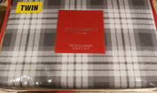 Cynthia Rowley 3 Piece Flannel Sheet Set Plaid Grey and White TWIN