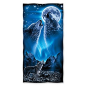 Wolves Howling Moon Cotton Beach Towel
