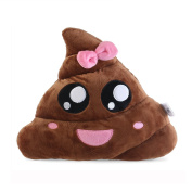 BESTOMZ Poop Plush Pillow Round Cushion Toy Brown Pink, 35 x 35 x 10 cm
