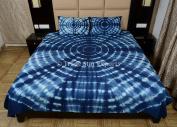Indigo Bedding Set, Shibori Indian Bedspread Queen, Tie Dye Bed Cover With Pillow Cover, Handmade Cotton Bedsheet