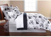 Keeco Mainstays 8 Piece OPP Floral Bed in Bag Comforter Set, Queen, Black White