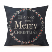 "Life365 Cotton Linen Square Throw Pillow Case Decorative Cushion Cover Pillowcase Merry Christmas Christmas Gift for Sofa 46cm X18 """