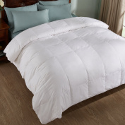 All Season White Down Comforter/Duvet, 600 Fill Power, 100% Cotton Cover, White, Twin Size