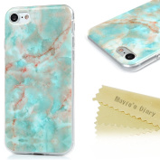 iPhone 7 Case,iPhone 7 Case Slim, Mavis's Diary Blue Marble Design Ultra Thin Shockproof Flexible Smooth TPU Soft Case Rubber Skin Anti-fade Scratchproof Full Protection Cover for iPhone 7