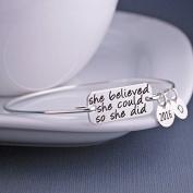"Ingooood Graduation Gift Personality ""She Believed she could so she did"" Bangle Charms Bachelor Cap Bracelet Jewellery"