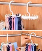 Drhob 1pc White Tie Rack Adjustable Tie Belt Scarf Hanger Holder Hook Ties Scarf for Organiser