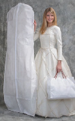 DELUXE Bridal White Wedding Gown Dress/Coat Garment Bag with Gusset - With Shoe Bag