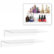 30cm Contemporary Clear Acrylic Floating Shelf / Wall Mounted Display Organiser, Set of 2