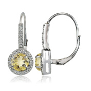 Sterling Silver Choice of Gemstone Birthstone and White Topaz Round Leverback Earrings