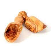Olive Wood 8.3cm Set of 2 Wooden Bath Salt Scoops, Hand Carved Medium Size Wooden Seasoning Scoops
