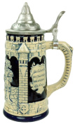 Collectible German Castle Festive Engraved Cobalt Blue Beer Stein with metal lid