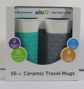 Ello Ogden BPA-Free Ceramic Travel Mug with Lid 2pk