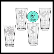 Game of Thrones set of FOUR Houses etched pint glasses