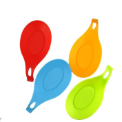 Honbay Flexible Almond-Shaped Silicone Spoon Rest - Multipurpose Kitchen Silicone Spoon Rest - Colourful, Durable, Heat-resistant, Dishwasher safe Silicone Spoon Rest, BBQ Brush Rest - 4 Pack