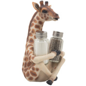 Decorative Giraffe Salt and Pepper Shaker Set with Display Stand Holder Figurine for African Jungle Safari Kitchen Decor Statuettes & Sculptures As Spice Racks with Zoo Animal Decorations As Great Art Gifts