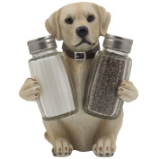Labrador Retriever Salt and Pepper Shaker Set with Decorative Display Stand Dog Figurine Holder for Lodge & Hunting Cabin Kitchen Decor Table Centrepieces As Puppy Gifts for Hunters