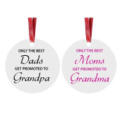 Only the Best Dads/Moms Get Promoted to Grandma/Grandpa - Grandparents - 7.6cm White Glossy Aluminium Christmas Ornament with Red Ribbon - Great Gift for Christmas Gift