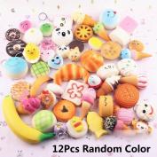 Fireboomoon 12 PCS Squishy Charms Kawaii Soft Foods Jumbo Squishies Cake/Panda/Bread/Buns Phone Charm Key Chain Strap