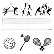 Portable 3-IN-1 Volleyball Tennis Badminton Net Set Training Beach With Carrying Bag 6.1m L