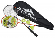 FiberFlash 7 Badminton Racket Set by RiteTrak Sports, 2 Carbon Fibre Shaft Racquets, 3 Shuttlecocks plus Fabric Carrying Bag All Included - Choose Your Favourite Colours