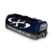 Boombah Brute Rolling Baseball / Softball Bat Bag - 90cm x 38cm x 30cm - 1.3cm - Navy/Grey - Holds 4 Bats and Room for Gear