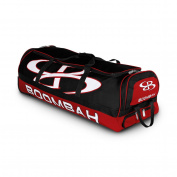 Boombah Brute Rolling Baseball / Softball Bat Bag - 90cm x 38cm x 30cm - 1.3cm - Black/Red - Holds 4 Bats and Room for Gear