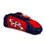 Boombah Spartan Rolling Baseball / Softball Bat Bag - 100cm x 30cm - 1.3cm x 30cm - Navy/Red - Holds 4 Bats and Much More