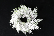Christmas Frosted Leaf 33cm Wreath or Candle Ring PAIR