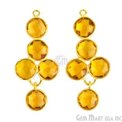 Select Your Stone Bezel Component 41x18mm 24k Gold Plated Exclusively by GemMartUSA 13026 (Citrine