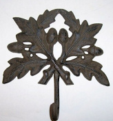"""ABC Products"""" - Very Large - Heavy Cast Iron - Wall hook - Oak Leaf Design - Large Hook Looped Hook At The Base -"""