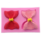 WYD Two Bow Shape Silicone Mould,Handmade Soap Mould,Cake Mould Decorating,Fondant Baking Mould