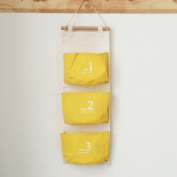 Huayoung Cotton & Linen 3-Pocket Small Wall Hanging Storage Bags Fabric Door-back Hanging Storage Shelves