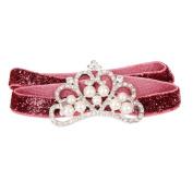 MA-on Baby Girl Crown Pattern Headband Faux Pearl Rhinestone Headwear - Red