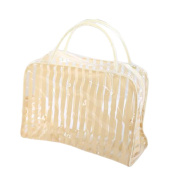 Fashion PVC Clear Stripe Travel Cosmetic Bag Case Waterproof Makeup Pouches Toiletry Wash Bag Holder Organiser