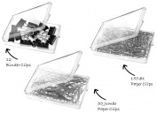 Office Supply Set - 150 #1 Paper Clips - 50 Jumbo Paper Clips - 12 Binder Clips - 3 Reusable Clear Boxes