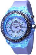 Fanmis Children Students Sport Rhinestone LED Flashing Light up Colour Changing Silicone Jelly Watch White