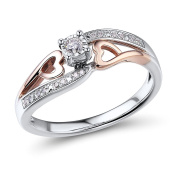 Petite Diamond Engagement Ring 1/10 ctttw in 10k Rose Gold and Rhodium Plated Sterling Silver
